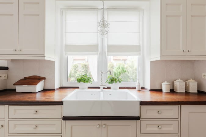 Wood Countertops Farmhouse Sink White Cabinets