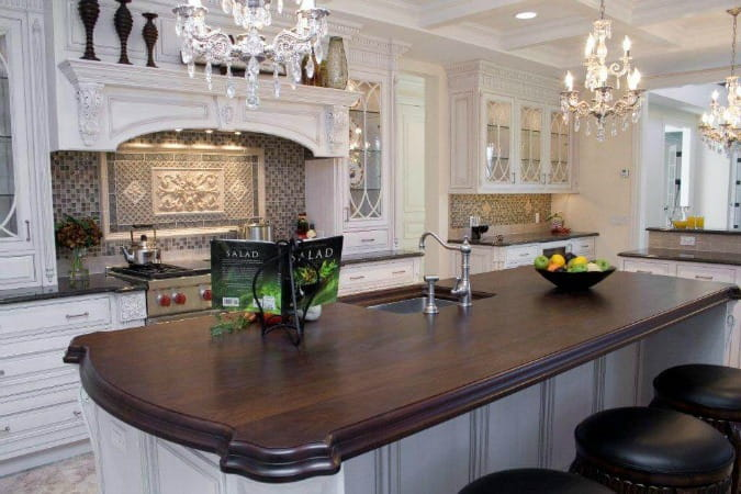 wood countertops wide plank walnut luxury kitchen