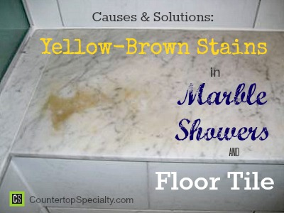 Yellow brown stains in marble showers floor tile for How to clean a marble shower